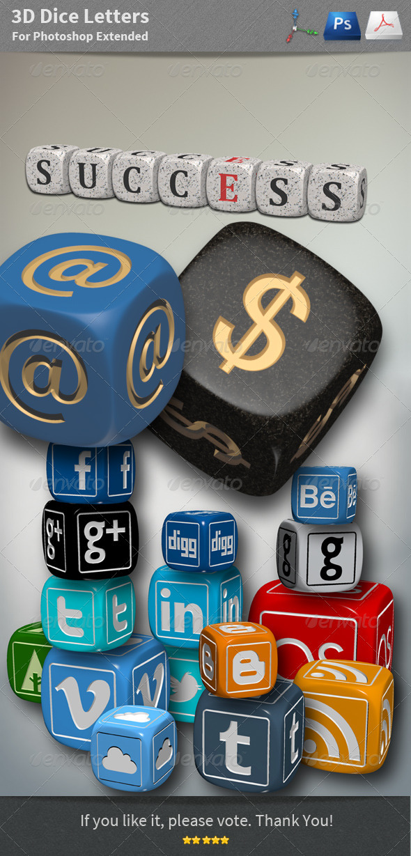 3D Objects - Dice Letters - Objects 3D Renders
