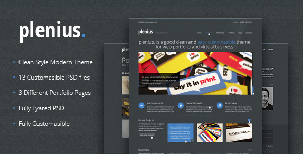 PLenius - Clean and Modern PSD Theme