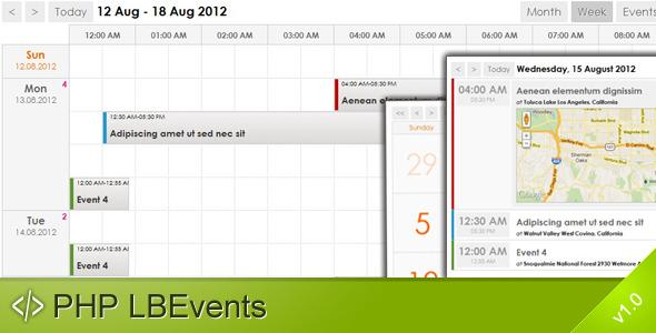 PHP LBEvents - AJAX Events Calendar