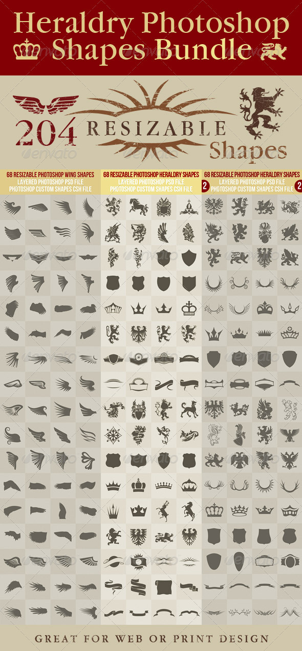 GraphicRiver Heraldry Photoshop Shapes Bundle 2815194
