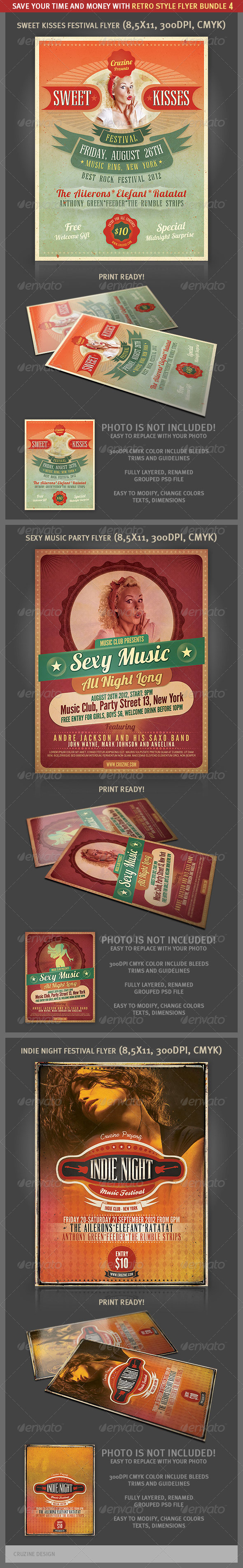 Retro Style Flyer Bundle 4 - Events Flyers
