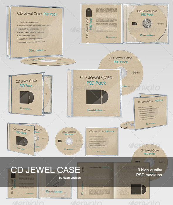 9 CD Jewel Case Mock-ups - Discs Packaging