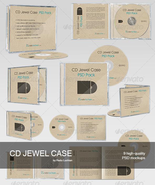 GraphicRiver 9 CD Jewel Case Mock-ups 2817480