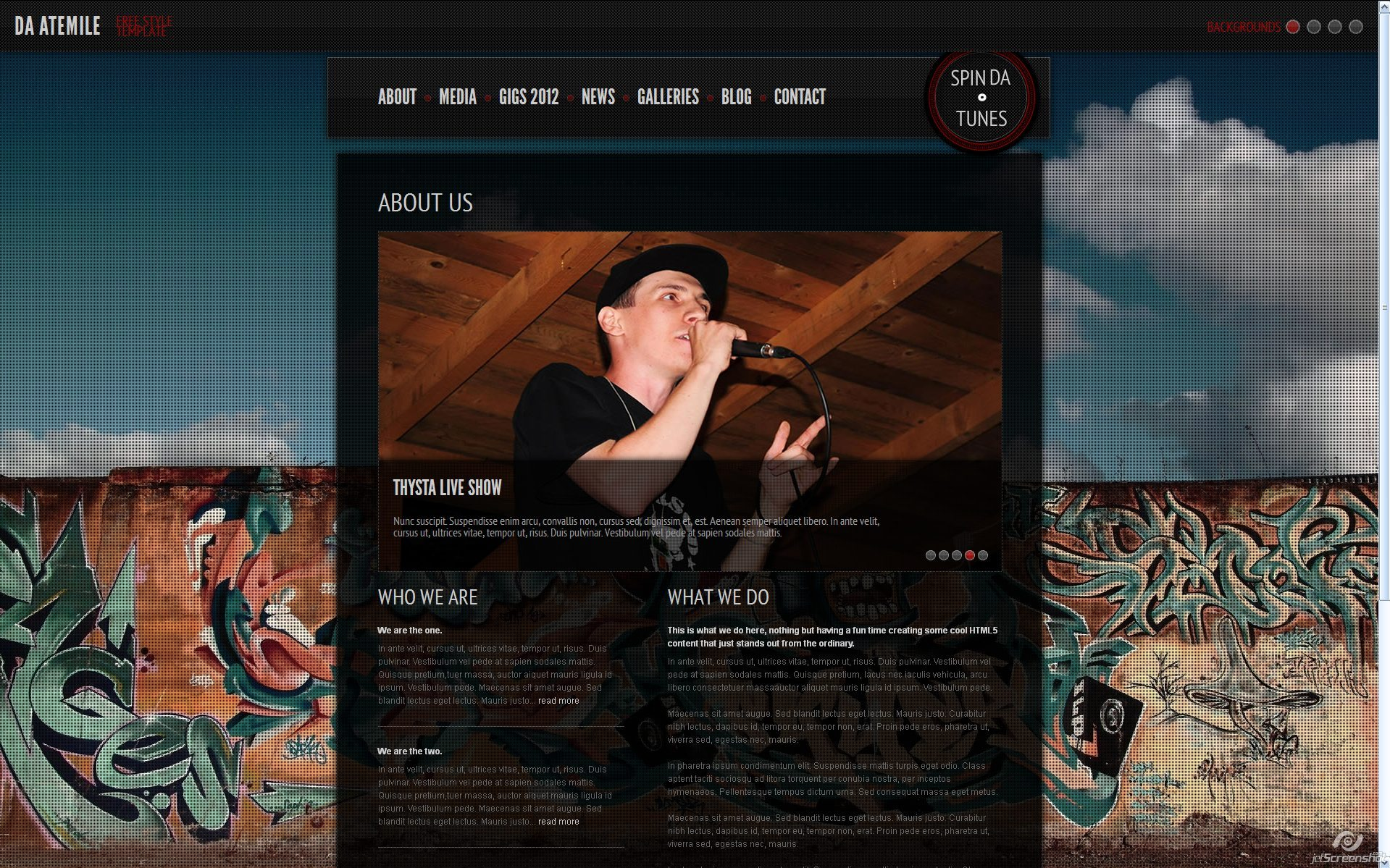 Da - AteMile - Free Style - Musician's Template - - About Page  - Awesome image slider with caption and custom nav buttons.Lots of cool CSS# animations.