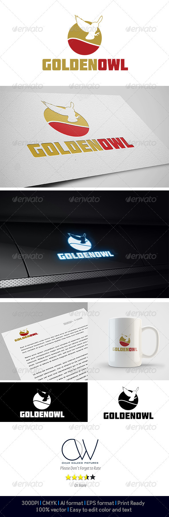 Golden Owl Logo - Animals Logo Templates