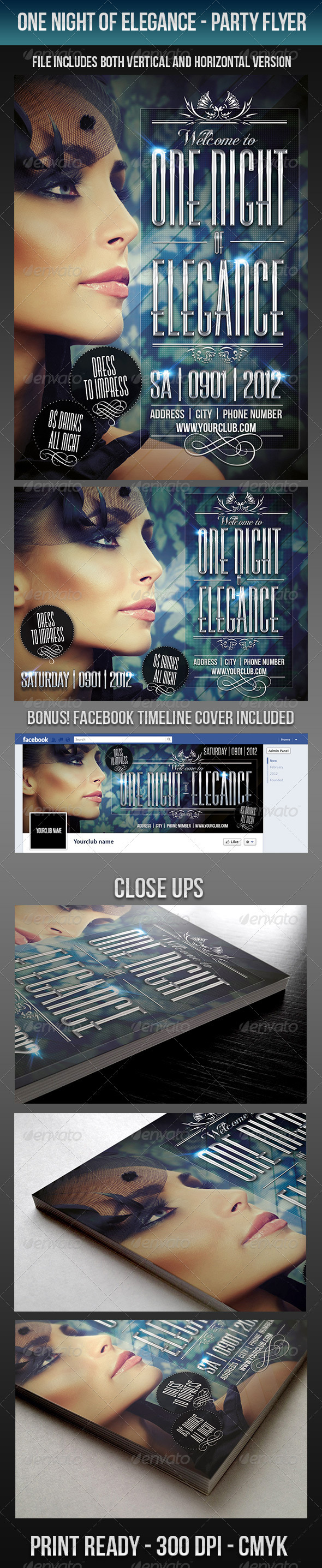 One Night Of Elegance Party Flyer