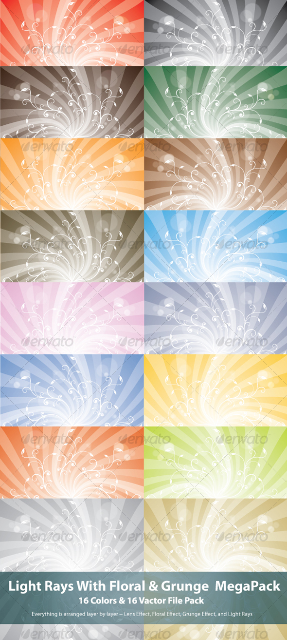 GraphicRiver Light Rays With Floral MegaPack 101538