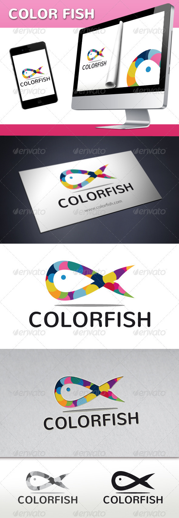 Fish Color Logo - Animals Logo Templates
