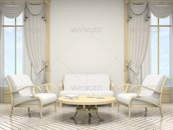 Part of the modern interior in white colour - Stock Photo - Images