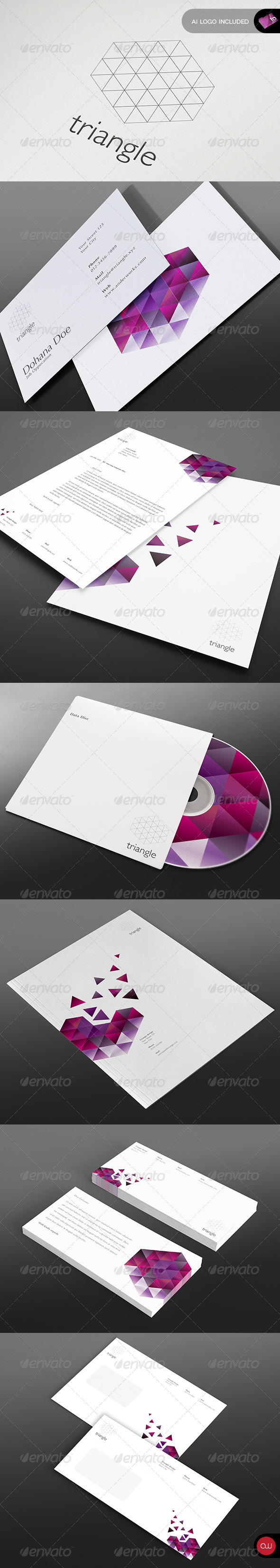 Stationary & Identity - Triangle Series - Stationery Print Templates