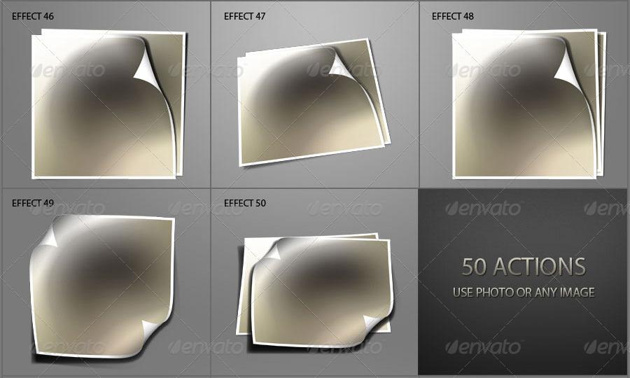 50 Photo Effects - Curl & Shadows