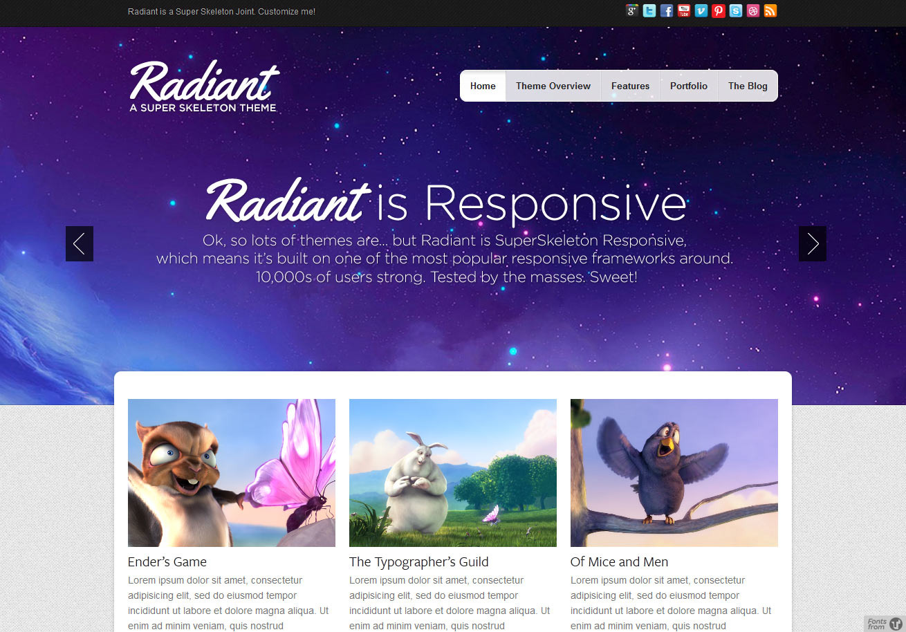 Radiant WP: Colorful, Beautiful, Responsive