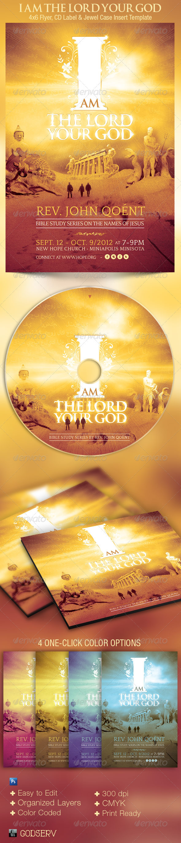 GraphicRiver I Am The Lord Your God Church Flyer and CD 2822919