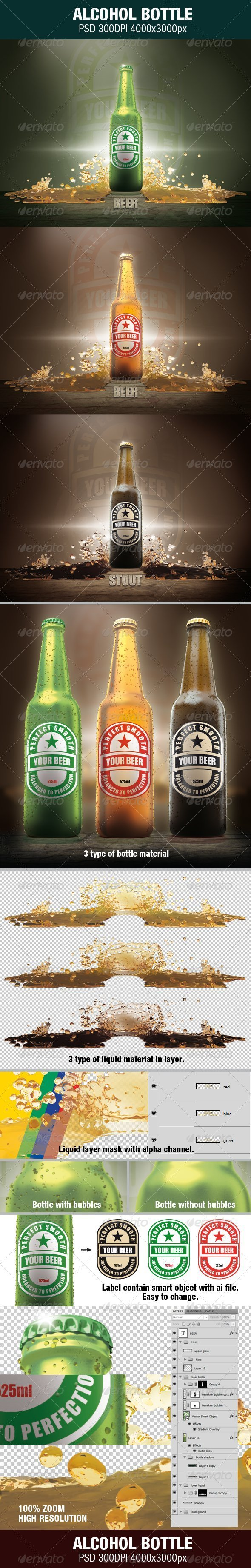 Alcohol Bottle - Objects 3D Renders