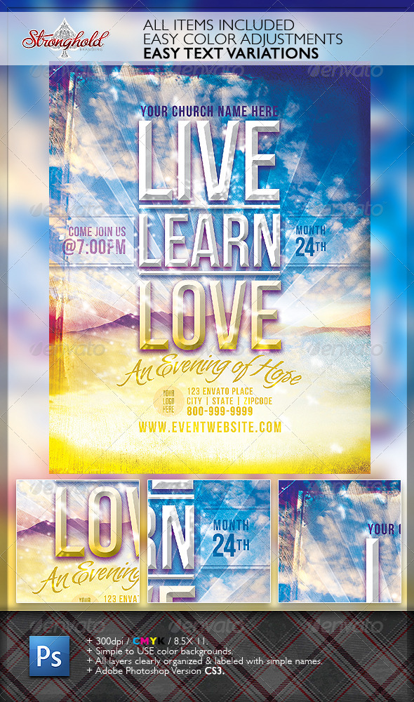 GraphicRiver Live Learn Love Flyer Template 2823300