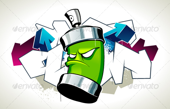 Cool graffiti image with can - Decorative Symbols Decorative