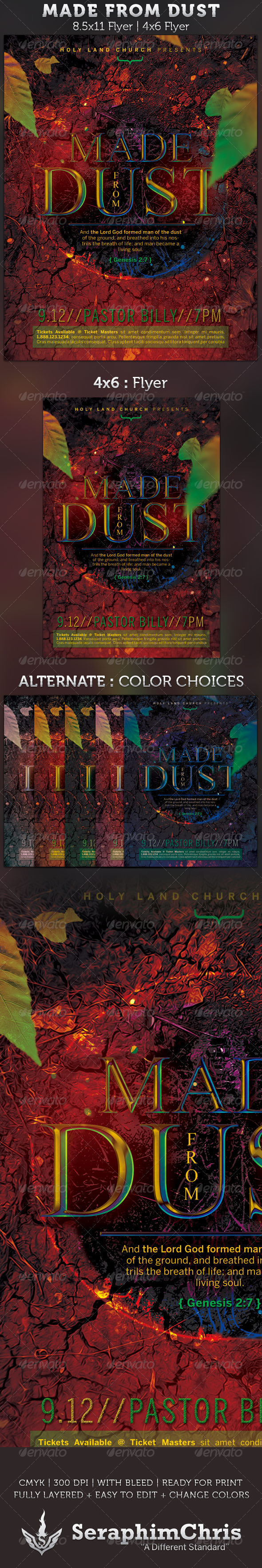 Made From Dust Church Flyer Template