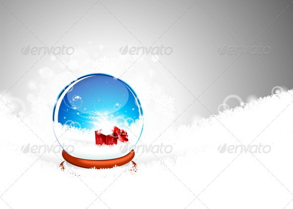 Snow globe against and magic gift box. - Christmas Seasons/Holidays