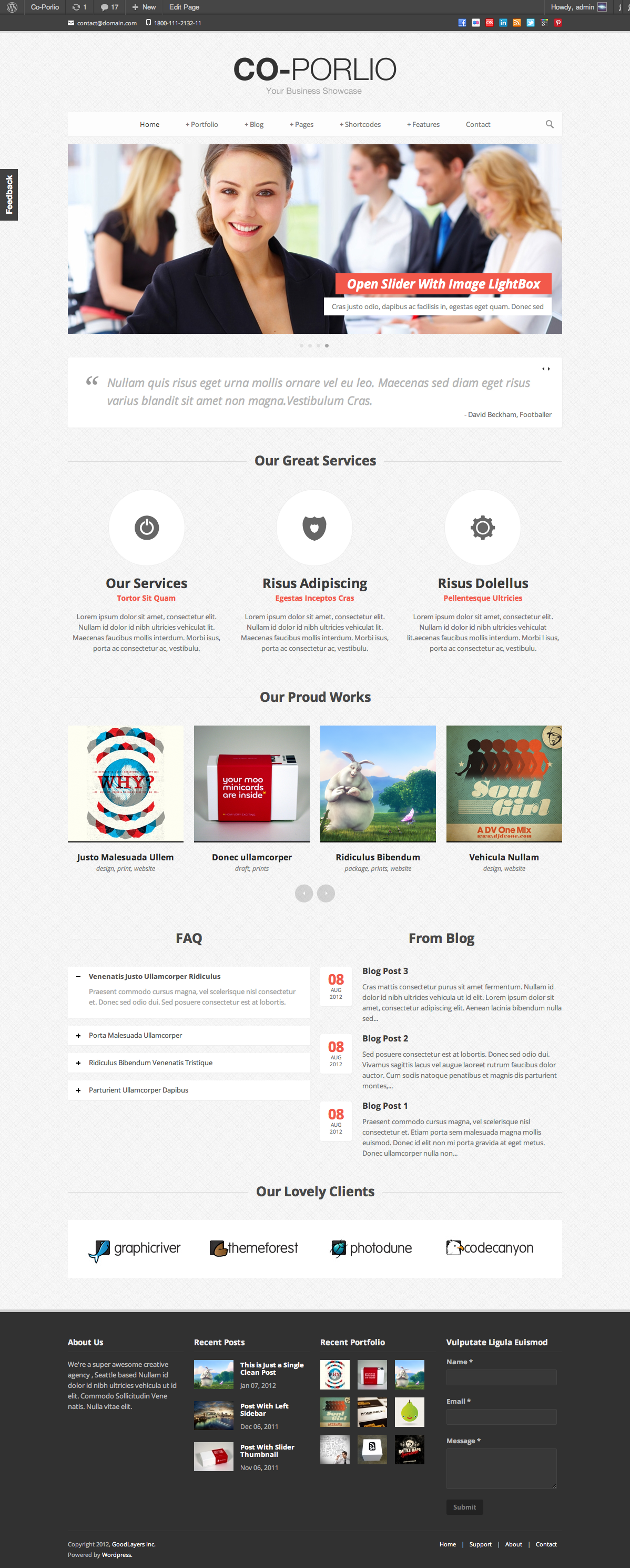 Co-Porlio: Feature Rich Wordpress Theme  - index page with color changed