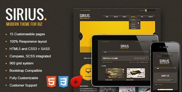 Sirius - Responsive HTML Template, SASS - Creative Site Templates