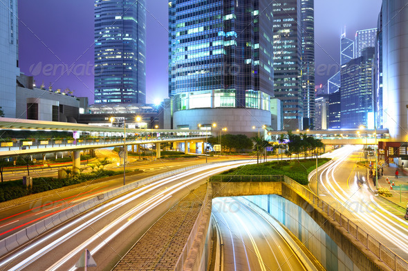 traffic with blur light through city at night - Stock Photo - Images