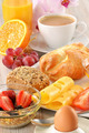 Breakfast with coffee, rolls, egg, orange juice, muesli and chee - PhotoDune Item for Sale