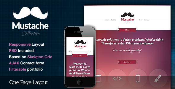 Mustache - Responsive One Page HTML Template
