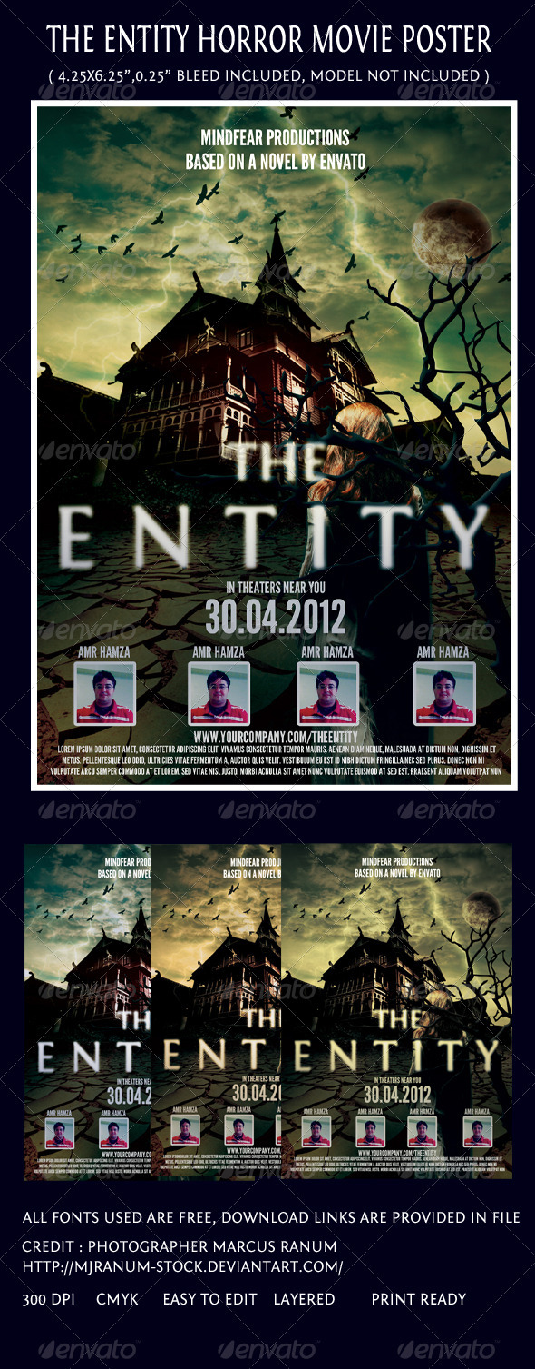The Entity Horror Movie Poster Template - Miscellaneous Print Templates