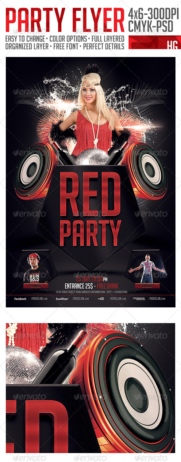 GraphicRiver Red Party Flyer Template 2827222