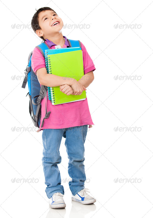 Pensive boy student - Stock Photo - Images