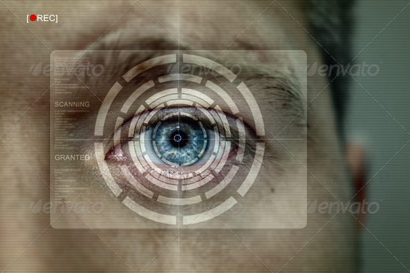 Iris recognition screen - Stock Photo - Images