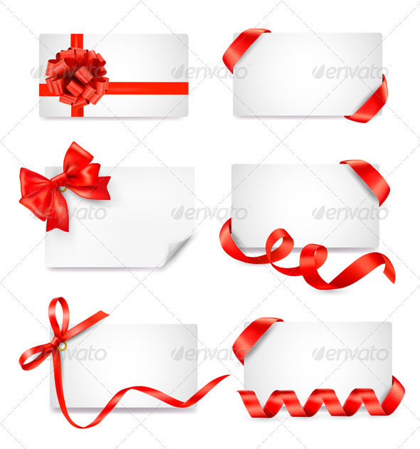 GraphicRiver Set of card notes with red gift bows with ribbons 2828488