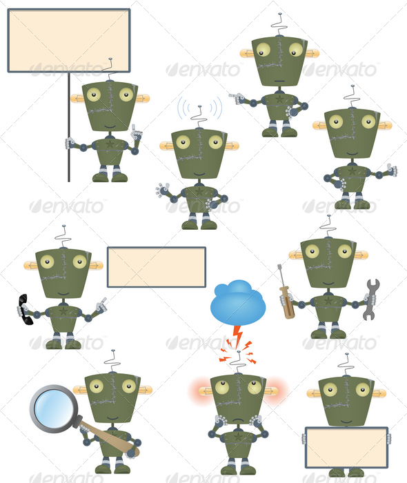 GraphicRiver Funny military robot set 2826742