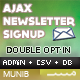 Ajax Newsletter Signup - PHP Admin & CSV export
