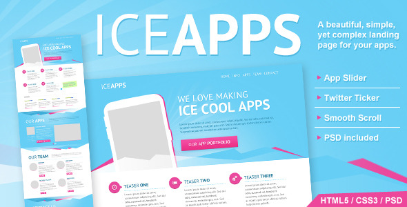 IceApps Landing Page HTML & PSD