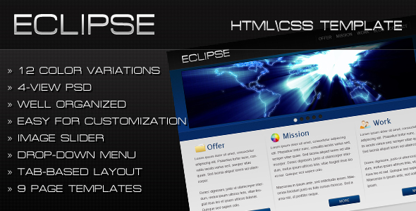Eclipse - HTML/CSS Template - Preview of the template