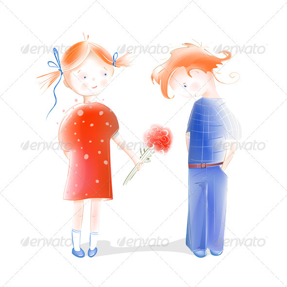 A Little Girl Presenting Flowers to a Boy