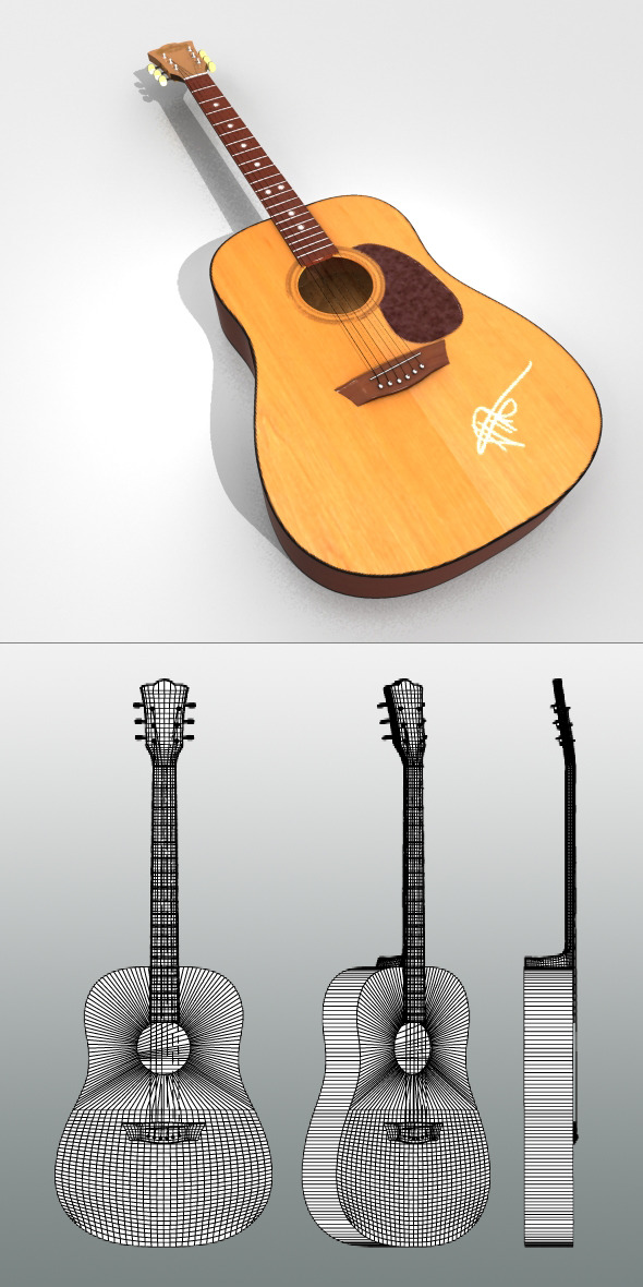 3DOcean Realistic Acoustic Guitar 2831677