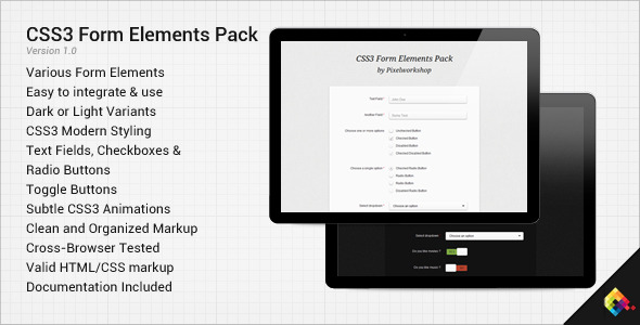 CodeCanyon CSS3 Form Elements Pack 2831697