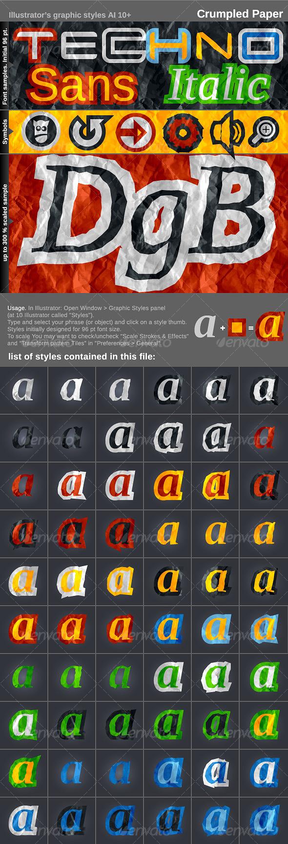 Illustrator's styles AI CS+. Crumpled Paper. - Styles Illustrator