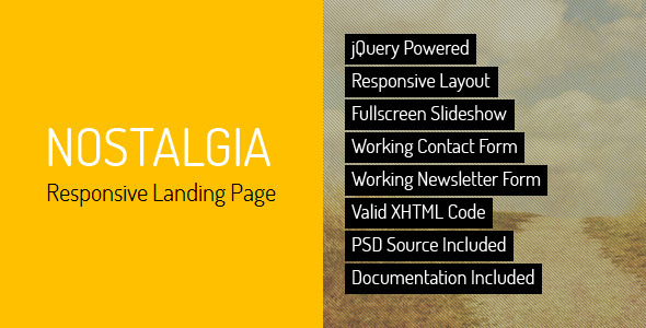 ThemeForest Nostalgia Responsive Landing Page 2831711