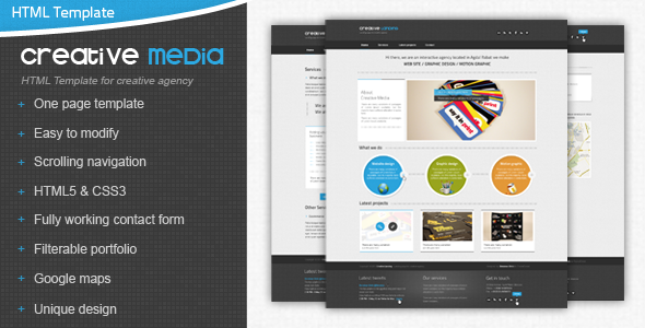 ThemeForest Creative Media One Page Html Creative Agency 2832362