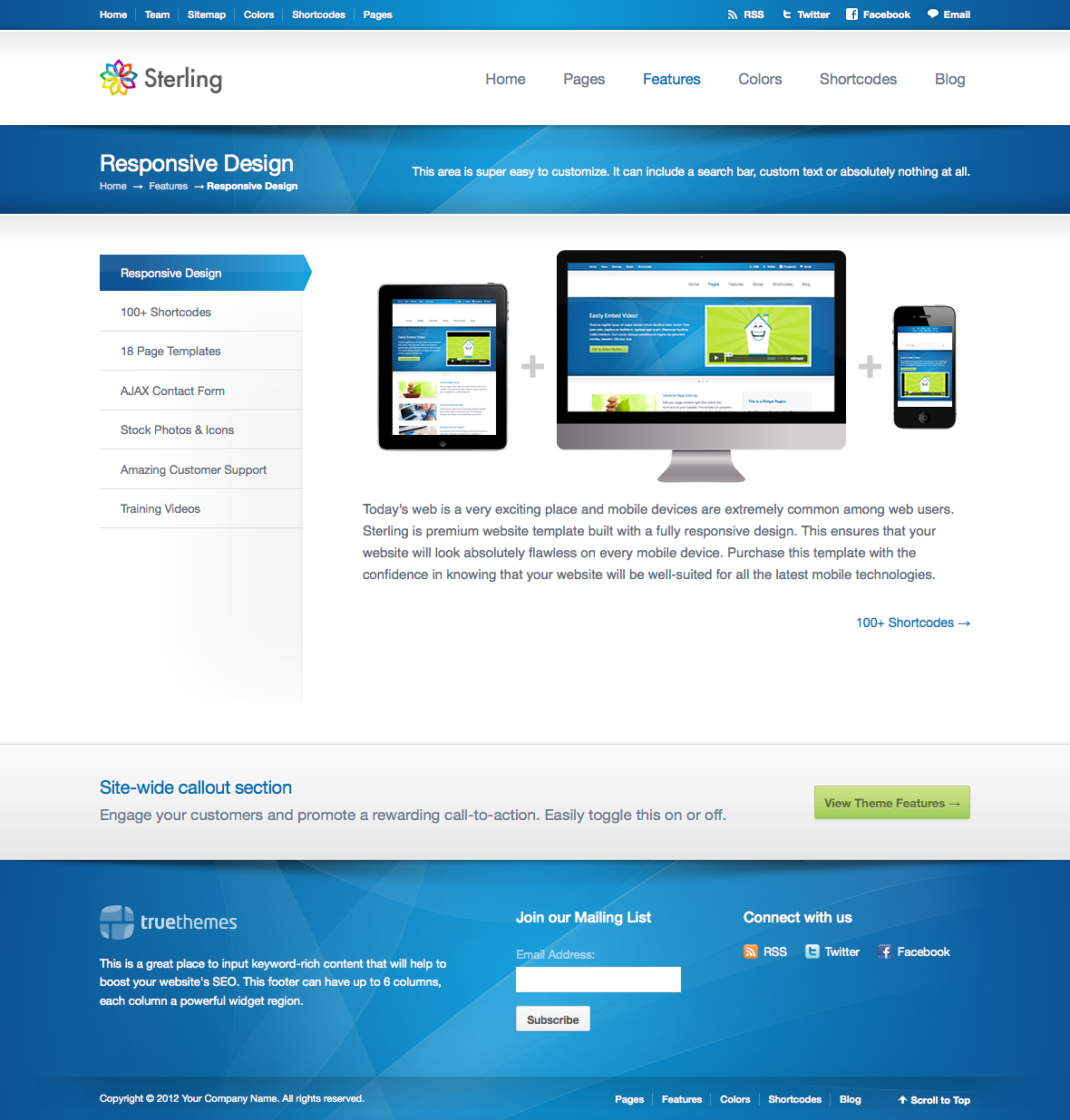 Sterling html5 responsive web template by truethemes for What is a responsive template