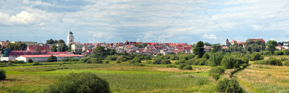 City panorama of Dzialdowo, Poland - Stock Photo - Images