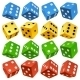 Download Vector Game dice set. Vector red, yellow, green and blue