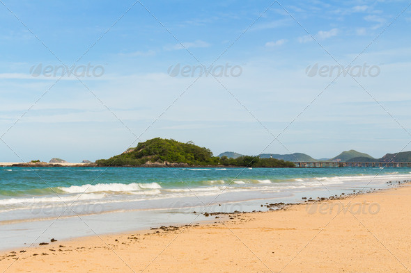 Clear turquoise sea and beach - Stock Photo - Images