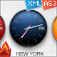 Custom Color Time Zone XML Clocks - ActiveDen Item for Sale