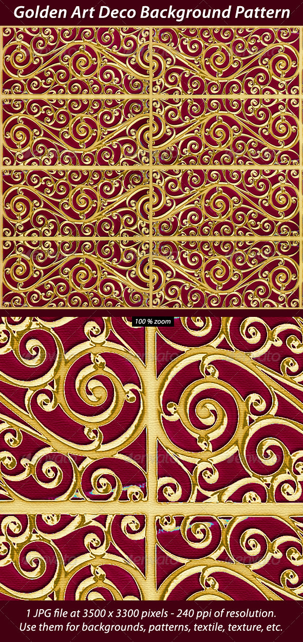 Golden Art Deco Background Pattern - Patterns Backgrounds