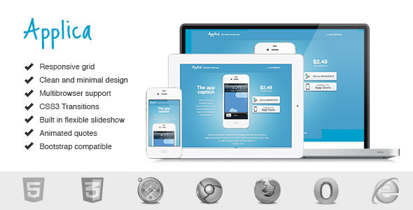 Applica. Responsive Mobile Software Landing Page.