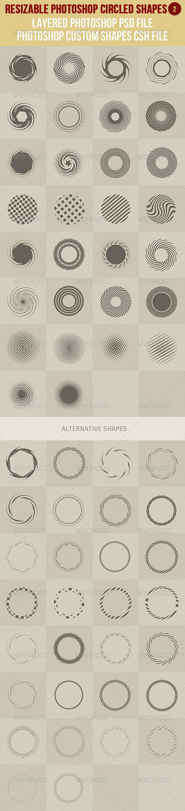 Photoshop Circled Shapes 2 - Symbols Shapes